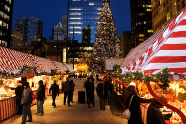 12-16-2010--Holiday Lights--Christkindlmarket Chicago celebrates 15 years at Daley Plaza (November 24-December 24)--The traditional German Holiday Market hours are 11am-8pm Sunday through Thursdays and 11am-9pm on Fridays and Saturdays. The market features food, shopping and entertainment. The final day closes at 4pm on Christmas Eve. Chicago Sun-Times photo by Tom Cruze--
