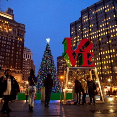Christmas Village Love Park.Holiday Markets Baked Cheese Haus
